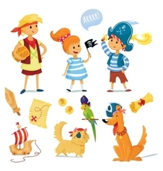 Kids and animals dressed like pirates vector