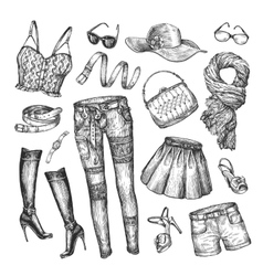 Fashion collection of women clothing hand vector