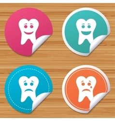 Tooth happy sad and crying face icons vector