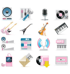 audio and music icon set vector image
