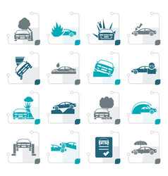 stylized car and transportation insurance and risk vector image