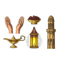 Praying hands arabic lampdates fruit minaret vector