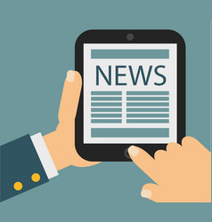 tablet computer with news icon on the screen flat vector image