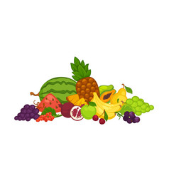 Sweet delicious fruits and berries in big heap vector