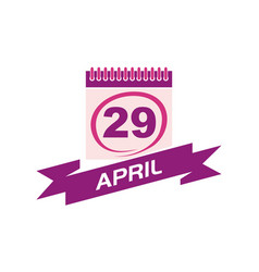 29 april calendar with ribbon vector