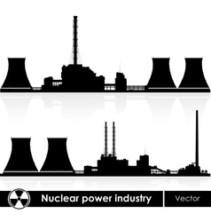 Nuclear power plants silhouette isolated on white vector