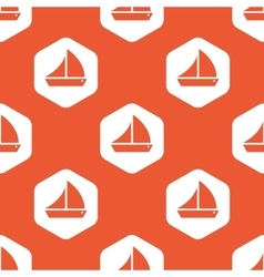 Orange hexagon sailing ship pattern vector