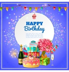 Happy birthday party background poster vector