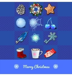 Christmas set of objects 12 icons vector
