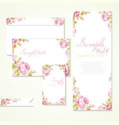 Card with pink roses and chevron vector
