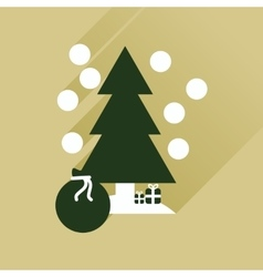Flat icon with long shadow tree bag gifts vector