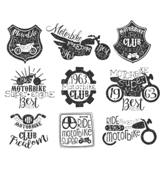 Motorbike club vintage stamp collection vector