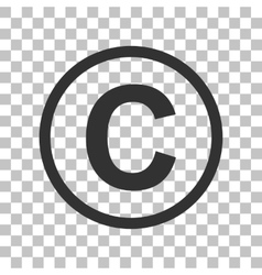 Copyright sign  dark gray icon on vector