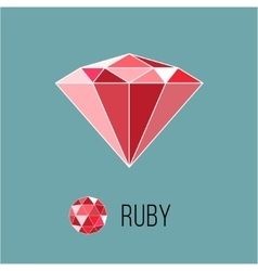Ruby flat icon with top view rich luxury symbol vector