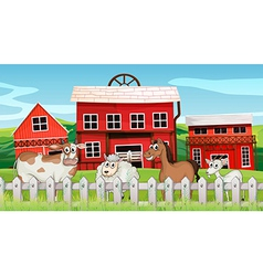Animals inside the fence vector image vector image