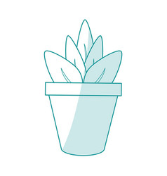 Blue silhouette shading cartoon plant in pot vector
