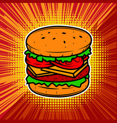 burger on radial background with vector image vector image
