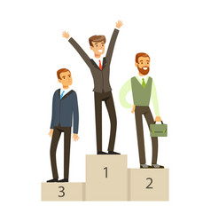 businesspeople standing on a podium business vector image vector image