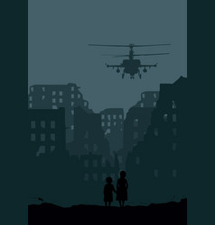 destroyed city helicopter and two little girls vector image