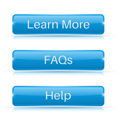 Faqs learn more help buttons blue 3d icons vector