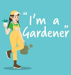 Gardener character with watering bucket on sky vector