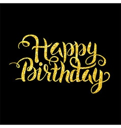 Gold happy birthday lettering over black vector