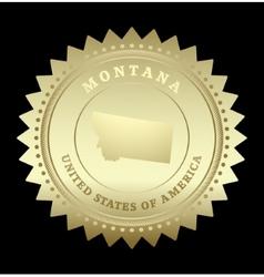 Gold star label montana vector