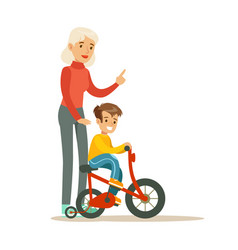 grandmother teaching boy to ride bicycle part of vector image