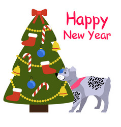 Happy new year banner with grey dog near xmas tree vector