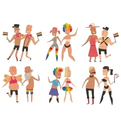 Homosexual gay and lesbian people set vector
