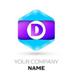letter d logo symbol in colorful hexagonal vector image
