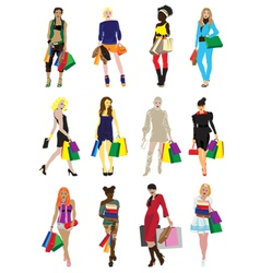 many girls with shopping vector image vector image