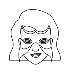 Monochrome contour of woman superhero with short vector