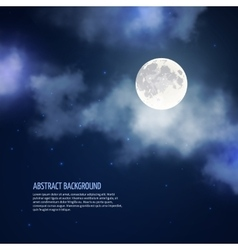 Night sky with moon and clouds abstract vector