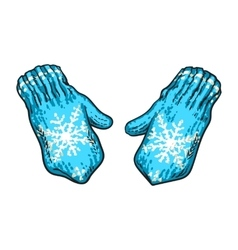 Pair of bright blue winter knitted mittens with vector