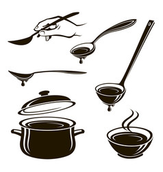 plate of soup spoon ladle and pan vector image