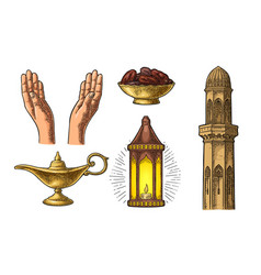 Praying hands arabic lampdates fruit minaret vector