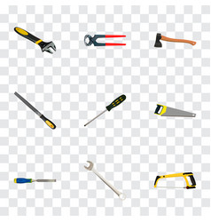 realistic wrench arm-saw carpenter and other vector image vector image