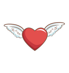red heart with wings decoration romance retro vector image vector image