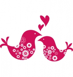 retro love birds with hearts vector image vector image