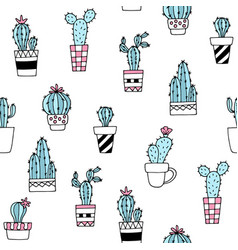 seamless pattern with cute hand drawn cactus vector image vector image