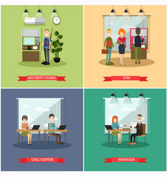 Set of bank concept square posters in flat vector