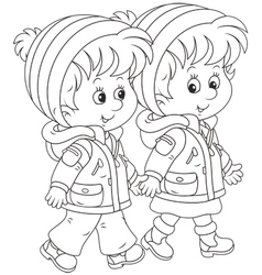 Small children walking vector