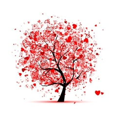 Valentine tree with hearts for your design vector image vector image