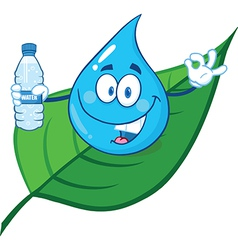 Water droplet cartoon character vector image