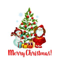 winter christmas holiday santa snowman icon vector image