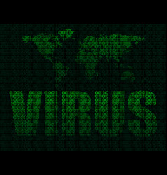 word virus on world map background vector image vector image