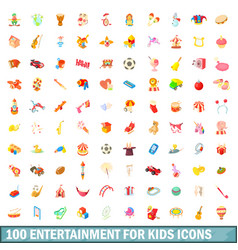 100 entertainment for kids icons set vector image