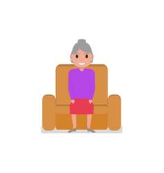 Cartoon grandmother sitting in a armchair vector