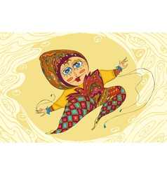 Girl jump ornamental vector